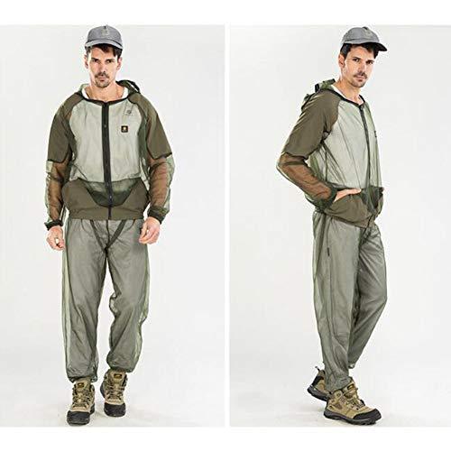Anti Moskito Anzug Schutzanzug Moskitoanzug mit (Jacke, Hosen, Handschuhe)Ganzkörperschutz gegen Insekten (Zeckenschutz) (Armee grün,Asien XXL= (EUR XL)) - Einfache Anzug-hosen