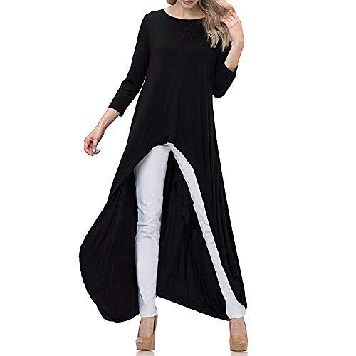 (Geili Damen Mode Cool Lange Bluse Frauen Unregelmäßige Rüschen Hem Shirt Langarm Einfarbig Pullover Tops Party Blusen)
