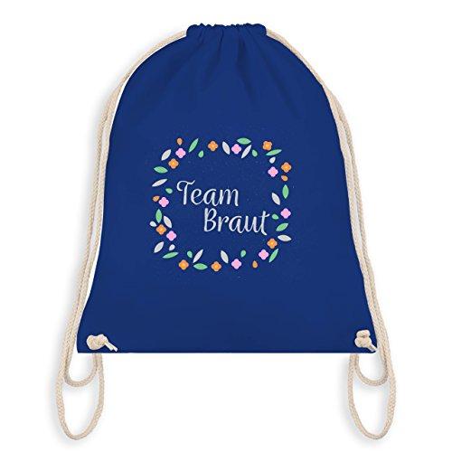 JGA Junggesellinnenabschied - Team Braut Blüten - Turnbeutel I Gym Bag Royalblau
