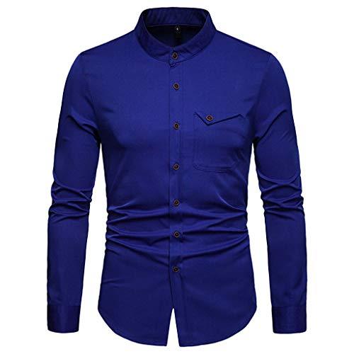 Kostüm Ufc Kinder - ESAILQ Herren Lange Ärmel Casual Button Business Große Größe Casual Top Bluse Shirts (Small,Dunkelblau)