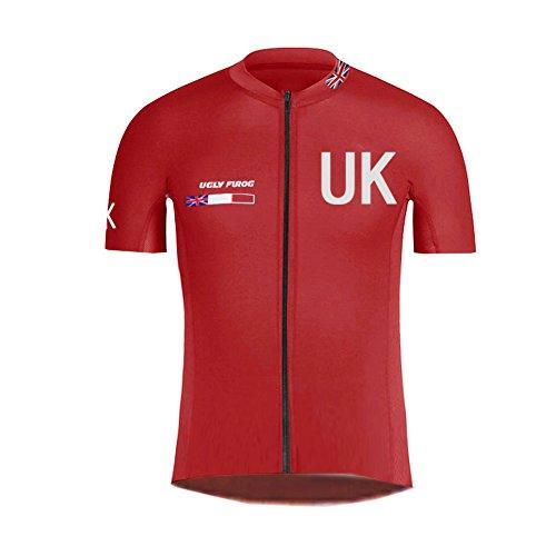 Uglyfrog Frühling Jersey Herren Fahrradbekleidung Gemütlich Trikot Kurzarm Radfahren Jersey Kurze Hülsen Fahrradtrikot England Nationalmannschaft