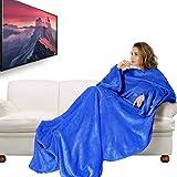 Josechan TV Decke Verdickte Flanell Kuscheldecke mit Ärmeln 180 x 200cm mit 50cm Fußtasche, Wohndecke Fleecedecke Wolldecke (blau mit Fußtasche)