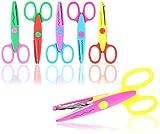 com-four® 6X Bastelschere mit verschiedenen Schnittmustern - Kinderschere für kreatives Basteln - Motivschere für Fotogestaltung (06er Set)