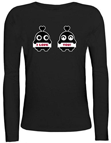 Valentinstag Damen Longsleeve Langarm T-Shirt mit Dudes Motiv Motiv von ShirtStreet Schwarz
