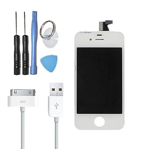 Vitre tactile ecran LCD sur chassis pour iPhone 4S blanc + cable USB pour iPhone4S -Visiodirect-
