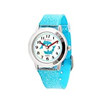 KIDDUS Girls Watch for Kids. Children Analogue Wristwatch, Time Teacher Exercises, Japanese Quartz, Glitter on Strap and dial. FAB10 Dolphin