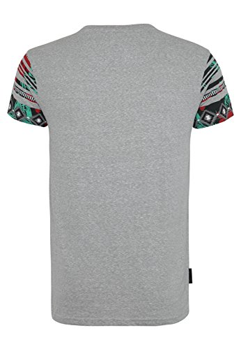 SUBLEVEL Herren T-Shirt mit Ethno Print | Regular Fit Shirt aus leichtem Jersey Material Light-Grey