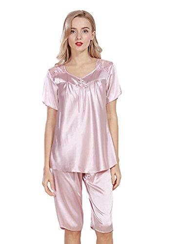 WanYang Femmes Manches Courtes Vêtements De Nuit Femme d'été Chemise Maillot De Lacet Lingerie Gris rosé pâle