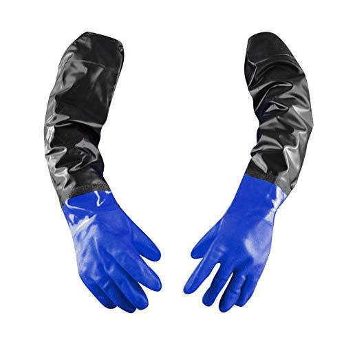 Guanti di pulizia in gomma con fodera in cotone manica lunga impermeabile riutilizzabili guanti da lavoro per uso domestico pesanti per uso domestico