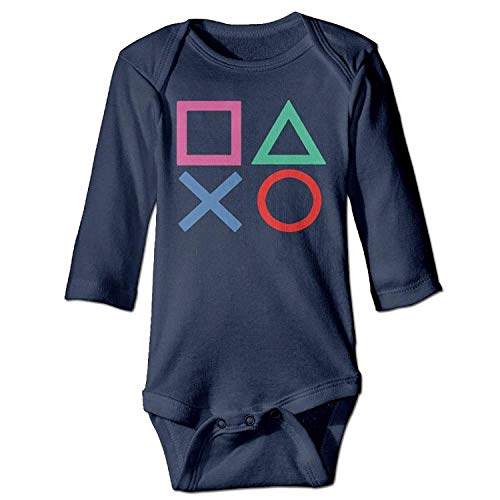 MSGDF Unisex Toddler Bodysuits Playstation Joypad Baby Babysuit Long Sleeve Jumpsuit Sunsuit Outfit Navy -