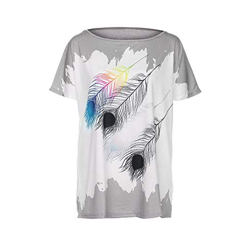 (CAOQAO Damenmode Kurzarm Oansatz Feder Print Shirt Lose BeiläUfiges Loses T-Shirt(Grau,M))