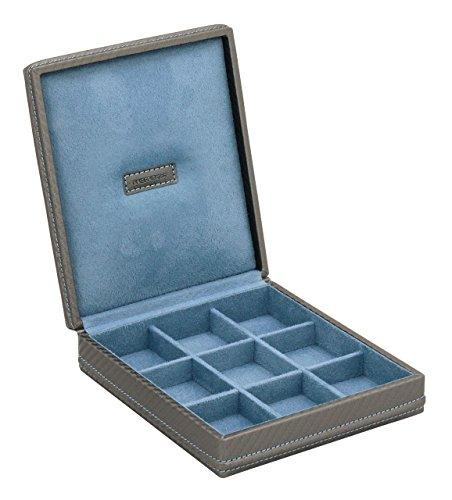 Schatulle portagemelli Etui-Manschettenknöpfe 9Loch in ECO LEDER Carbon Blau