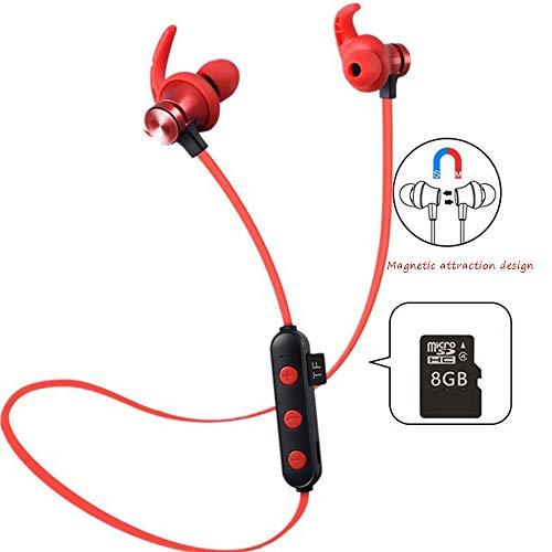 LEENP In-Ear-Kopfhörer Magnetische, Wireless Bluetooth-Headset, Ohrhörer Stereo-Headset Earphones für iPhone, Android Smartphones MP3-Player, Outdoor-Sport Elektronisches Geschenk,Red