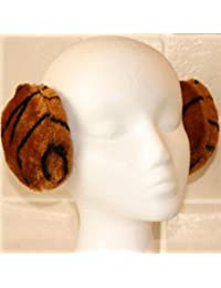 Dark Brown Black Tiger Animal Print Plush Wraparound Ear Muffs