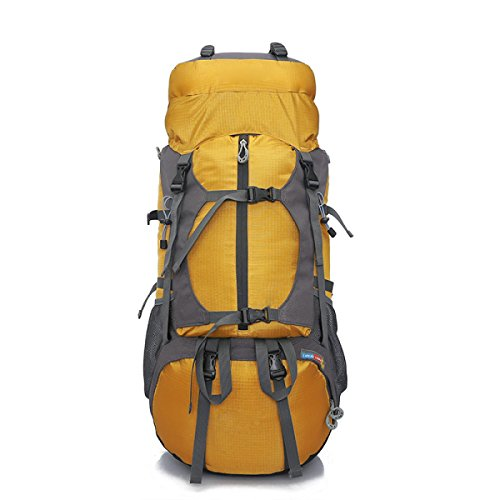Professionelle Bergsteigen Outdoor Travel Camping Große Kapazität Wasserdichte 50L Rucksack,Red Yellow