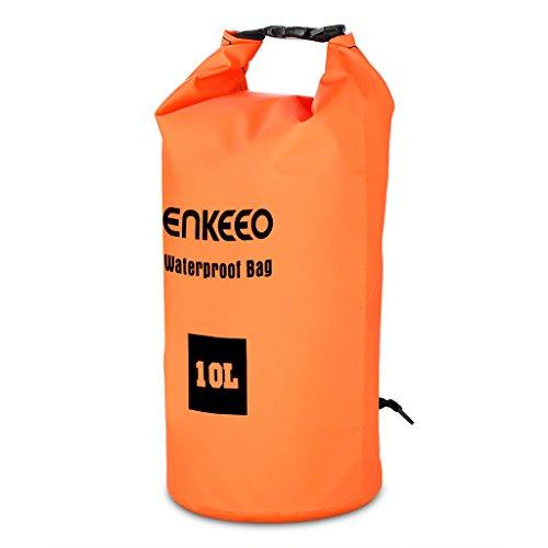 Imagen de enkeeo  bolsa seca impermeable  estanca 10l, material 500d pvc grado industrial, para gimnasio o actividades al aire libre y acuaticas naranja alternativa