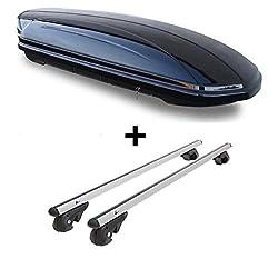 Dachbox VDPMAA580 580Ltr abschließbar schwarz + Alu Relingträger VDP004XL kompatibel mit VW Touran Kombi 03-14