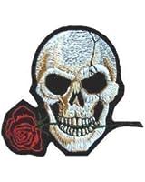 Sew-on Patch thermocollant brodé avec Badge en forme de tête de mort Rose