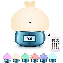 Réveil Enfant Garçon Éducatif, Urslif Lapin Veilleuse de Nuit Horloge Digitale USB Charger Contrôle Télécommande Enregistrement De Son 7 Couleurs 11 Sons Bleu