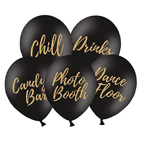 partydeco.pl 5 Luftballons mit Goldener Druck, 1 x Candy Bar, 1 x Chill, 1 x Drinks, 1 x Photo Booth, 1 x Dance Floor, 30 cm (schwarz mit goldenem Druck) (Schwarz Gold Candy Und)