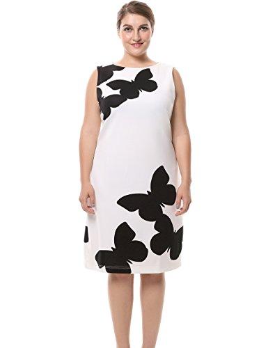 Chicwe Damen Kleid Große Größen mit rückseitigem Metallreißverschluss Schmetterlings Aufdruck 50, Weiß Plus Size Club Kleider In Weiß