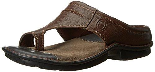 f9b25ba735 Hush Puppies Men s Decent Tan and Light Brown Leather Flip Flops Thong  Sandals - 7 UK