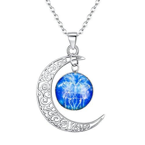 amen 925 Sterling Silber Horoskop Tierkreis 12 Konstellation Astrologie Galaxis & Halbmond Mond Glas Bead Anhänger Hals-Schmuck Zwillinge ()