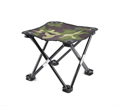 Bequeme Sitzhocker,tragbar Klappbarer kleiner Hocker Bank Angelhocker Wechselnde Schuhe Hocker Schemel Mazar Draussen Skizzieren Four Corners Hocker 29,5 * 29,5 * 26cm , double cloth dark camouflage fishing stool (black feet)