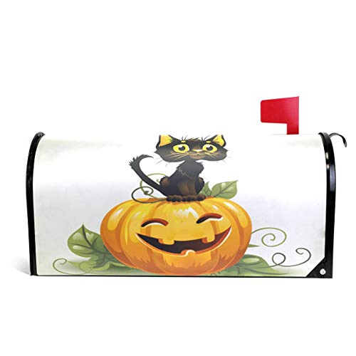 WOOR Cute Black Cat On Halloween Kürbis Magnetic Mailbox Cover Standard Size 45,72 x 52,8 cm 20.8x18 inch Standard Size Multi
