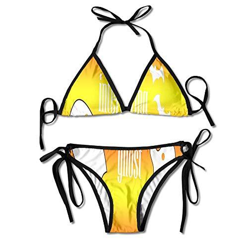 Orange Interesting Ghost Women's Two-Piece Suits Bikini Beach Bathing Swimsuit