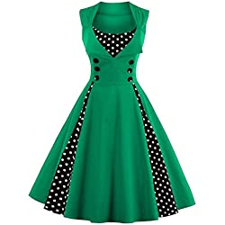 VERNASSA 50s Vestidos Vintage,Mujeres 1950s Vintage A-Line Rockabilly Clásico Verano Dress for Evening Party Cocktail, S-Plus Size 4XL