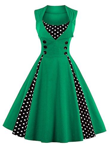 VERNASSA Kleid Damen 50er 60er Jahre, Vintage Ärmellos Retro Elegant Abschlussball Tupfen Baumwolle Swing Kleid für Rockabilly Abend Party Cocktail, Mehrfarbig, S-Plus Größe 4XL -