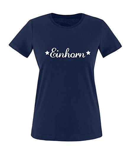 Luckja Einhorn Damen Rundhals T-Shirt Navy/Weiss