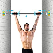 Doorway Pull Up Bar No Screws, Heavy Duty Chin Up Bar with Locking Mechanism, Adjustable Width Exercise Bar Up