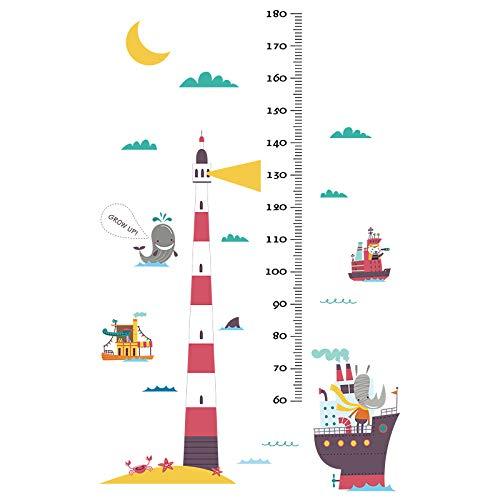 MIYAA Kinder Messlatte,Nautische Boot und Wal höhe Messung Aufkleber für Jungen und Kinder Kindergarten und Kindergarten Records Baby Wachstum Tisch und Dekoration Wandbilder Selbstklebende abnehmbar -