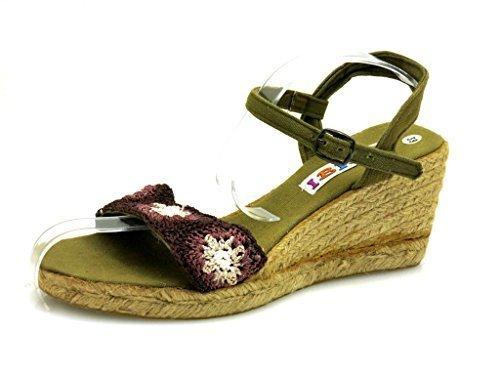 Ibiza sandalo con zeppa tacco sandali tacco alto scarpe estive espandrilles colorato 1234 - cachi, 40