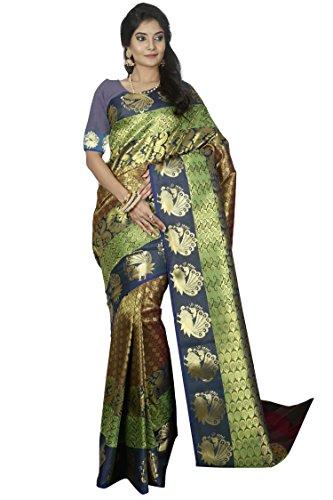 arars kanchipuram silk saree wedding/bridal collection With Blouse (228 PP OLIVE)