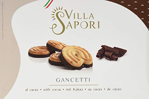 Villa Sapori Traditional Italian Biscuit with butter and cocoa-covered base | Gancetti 900 g case (6 pack x 150g) (Karton Base Kuchen)
