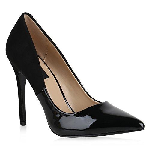 Damen Spitze Pumps Stilettos High Heels Lack Leder-Optik Schuhe 154133 Schwarz Carlton 37 Flandell -