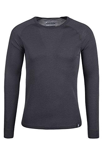 Mountain Warehouse Merino Langarm Baselayer-Thermotop für Herren - Leichtes T-Shirt, warm, antibakteriell, schnelltrocknend - Ideal bei kaltem Wetter Winter Baselayer Dunkelgrau Medium -