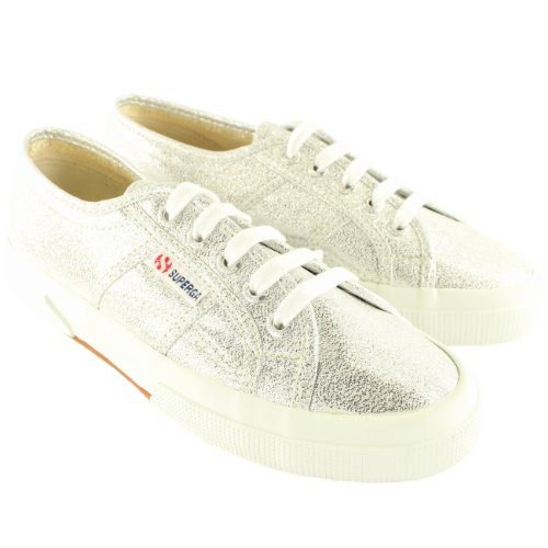 Womens Superga Lame Lace Up Glitter Plimsoll Canvas Trainers New UK Sizes 3-8