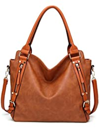 Women Work Tote Handbags Hobo Shoulder Bags Leather Zipper Bags Satchel Purse Brown By Melord