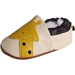 JINZFJG Suaves Zapatos de Cuero de Bebé Unisex Primavera-Otoño para Primeros Pasos, Beige Jirafa, 12-18 Meses