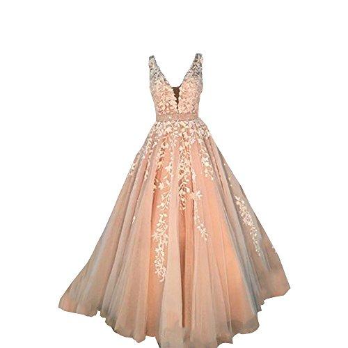 Nanger Damen A Linie Prinzessin Tüll Hochzeitskleider mit Appliques Brautkleider Ballkleider Rosa...