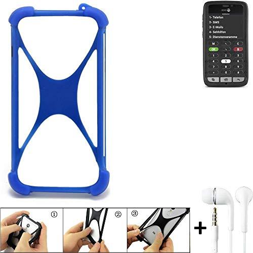 K-S-Trade Bumper für Doro 8031C Schutzhülle Handyhülle Silikon Schutz Hülle Cover Case Silikoncase Silikonbumper TPU Softcase Smartphone, Blau (1x), Headphones
