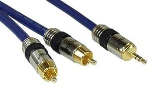 InLine Cinch/Klinke Kabel, 2x Cinch Stecker an 3,5mm Klinke Stecker, 5m