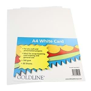 White Craft Cards A4 160 gsm - 30 Pk