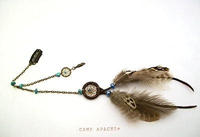 """Bijou de cheveux ethnique Dream catcher marron et perles turquoise Collection"""" Esprit Amérindien"""""""