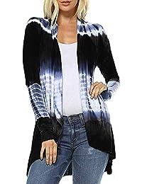 VJGOAL Mujer Otoño E Invierno Moda Casual Tie-Dye Estampado Degradado Hi-Low Cardigan Abierto Blusa de Manga Larga con Top asimétrico