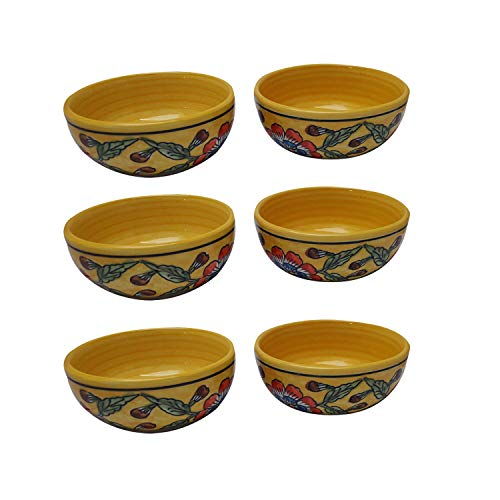India Meets India Thanksgiving Handicraft Ceramic Bowls Set of 6 Mixing Bowls Salad Bowl Snack Bowl, 400 ML, Best Gifting, Made by Awarded Indian Artisan